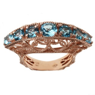 Dallas Prince Rose Gold over Silver Swiss Blue Topaz Ring