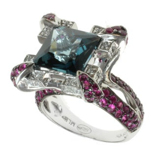 Dallas Prince Sterling Silver London Blue Topaz, Ruby and White Sapphire Ring