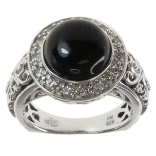 Dallas Prince Sterling Silver Black Tourmaline and White Sapphire Ring