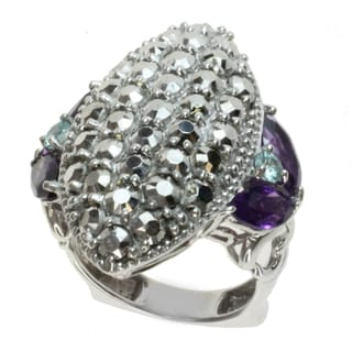 Dallas Prince Sterling Silver Marcasite, Amethyst and Blue Zircon Ring