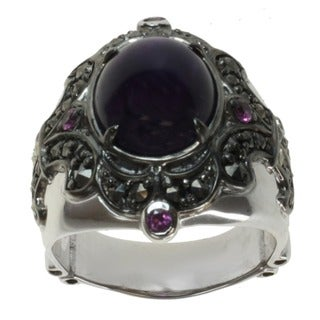 Dallas Prince Sterling Silver Amethyst, Rhodolite and Marcasite Ring