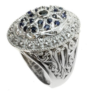 Dallas Prince Sterling Silver Black Spinel, Blue Sapphire and Marcasite Ring