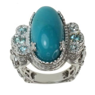 Dallas Prince Sterling Silver Turquoise and Blue Zircon Ring