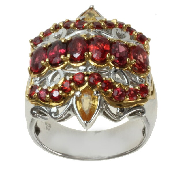 Michael Valitutti Two-tone Orange and Yellow Sapphire Ring