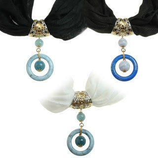 Michael Valitutti Two-tone Blue Agate and Aquamarine or Lapis and Blue Lace Agate Scarf Necklace