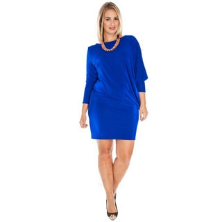 A Plus Style Women's Plus Size Royal Blue Asymmetrical Jersey Dress