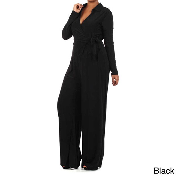 A Plus Style Women's Solid Full Length Long Sleeve Jumpsuit