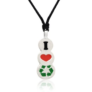 Dolce Giavonna Red and Green Enamel 'Go Green' Pendant Necklace