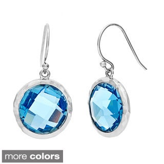 Rhodium-plated Brass Quartz Round Dangle Earrings