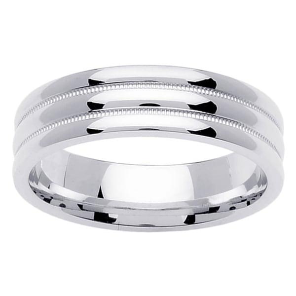 14k White Gold Comfort Fit Wedding Band Ring