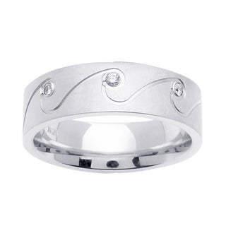 14k Plain White Gold 1/6 ct TDW Diamond Wedding Band Ring (G-H, SI1-SI2)