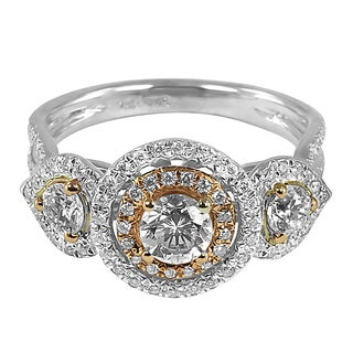 18k Tri-color Gold 1 1/5ct TDW Vintage Style Halo Diamond Ring (G-H, SI1-SI2)