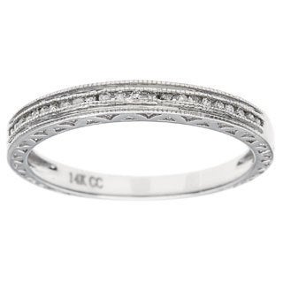 14k White Gold 1/5ct Engraved Vintage-Style Diamond Wedding Band (G-H, I1)