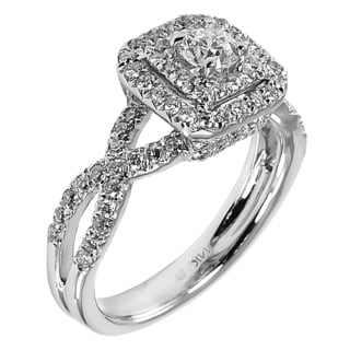 14k White Gold 1ct TDW Double Halo Braided Diamond Ring (G-H, I1-I2)