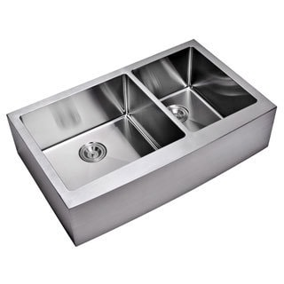 Water Creation 36-inch X 22-inch 15 mm Corner Radius 60/40 Double Bowl Stainless Steel Hand Made Apron Front Kitchen Sink