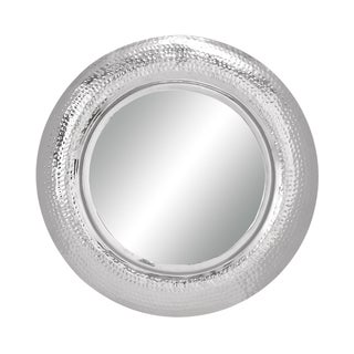 Circular Glossy Metal Framed Mirror