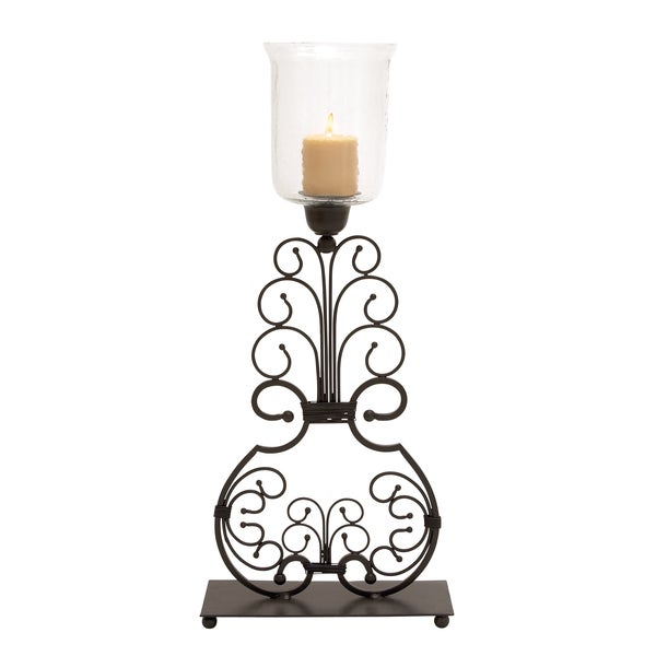 Curved Metal Hurricane Lamp