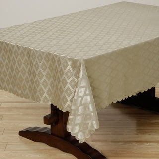 Two-tone Tan Diamond Damask 57x119-inch Rectangular Tablecloth