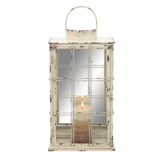 Vintage Glass and Metal Candle Lantern