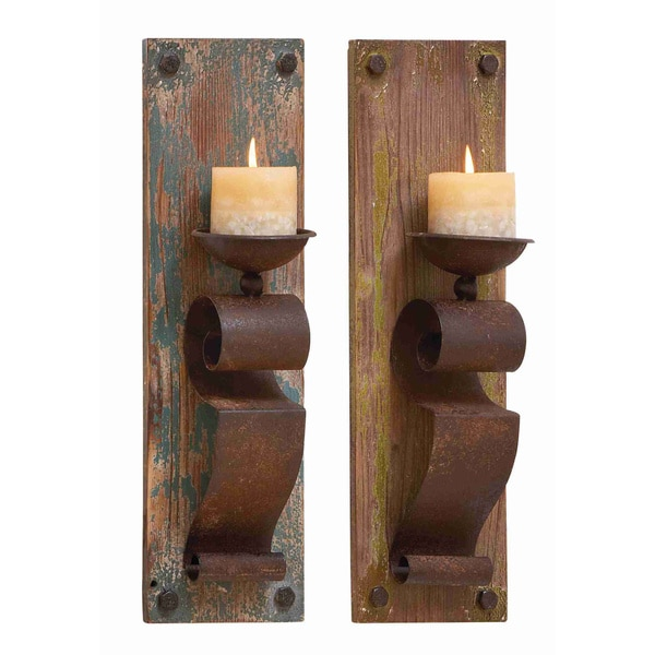 Rustic Wall Sconces For Candles : Wood and Metal Rustic Candle Sconces (Set of 2) - 15892422 - Overstock.com Shopping - Great ...