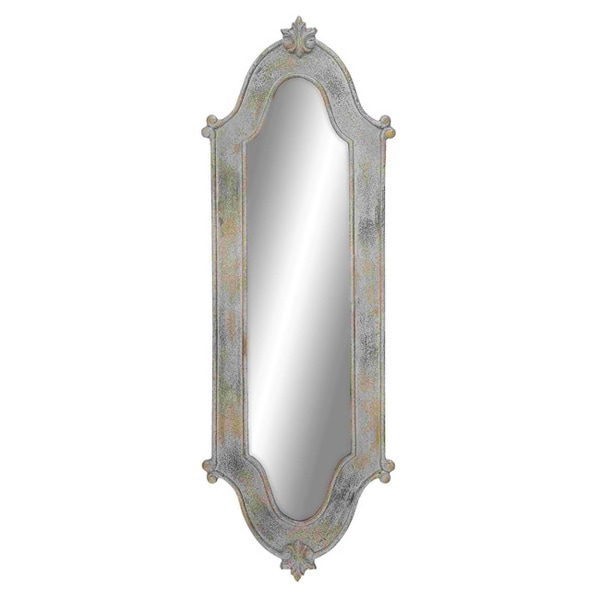 Dull silver wooden bordered long mirror overstock for Silver long mirror
