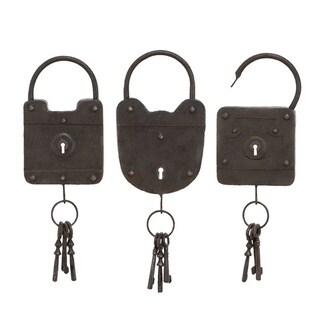 Lock Style Antique Black Metal Hanging Key Racks (Set of 3)