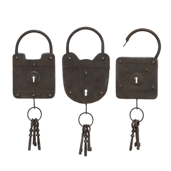 Lock Style Antique Black Metal Hanging Key Racks (Set of 3)