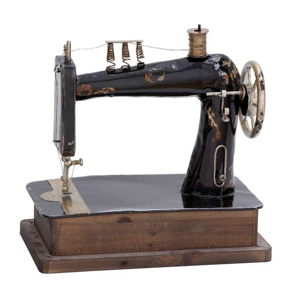 Antiqued Metal Sewing Machine Figure