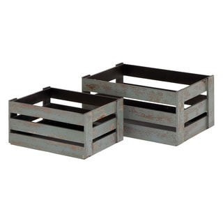 Grey Wood Crates (Set of 2)