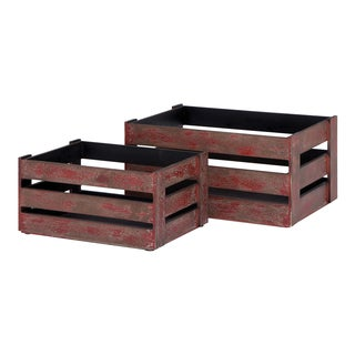 Rustic Red Wood Crates (Set of 2)