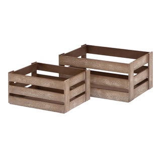 Brown Wood Crates (Set of 2)