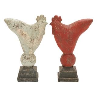 Indoor/ Outdoor Vintage Rooster Sculptures (Set of 2)