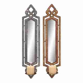 Wooden Mirror Candle Stands (Set of 2)