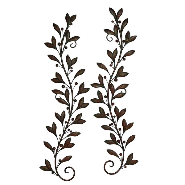 Decorative Metal Branches With Leaves Set Of 2
