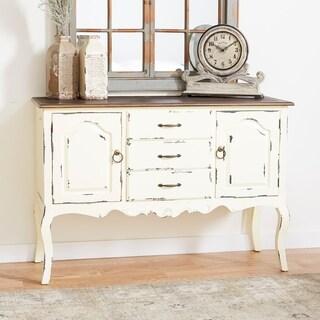 "48"" x 33"" Farmhouse Beige & Brown Wood Cabinet by Studio 350"