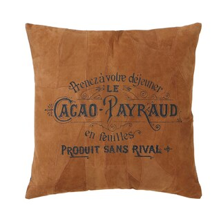 Brown Leather Throw Pillow with French Text