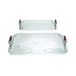 Metal Tray with Wooden Handles (Set of 2)
