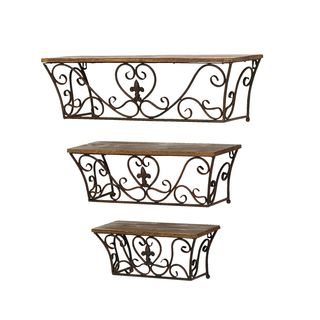 Classic Metal Wall Shelves (Set of 3)