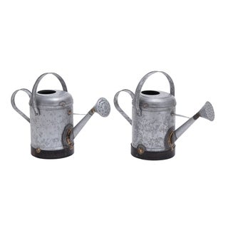 Galvanized Metal Watering Cans (Set of 2)