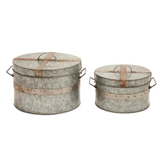 Traditional Round Galvanized Metal Box (Set of 2)