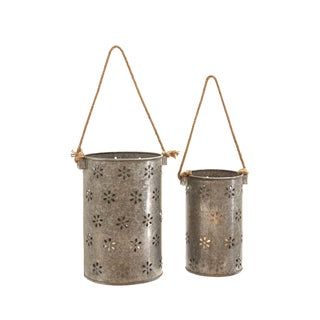 Galvanized Silver Metal Lanterns (Set of 2)