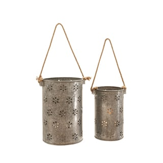 Galvanized Metal Lanterns (Set of 2)