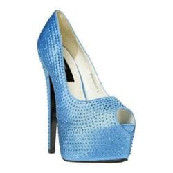 Women's Highest Heel Marquis-21 Turquoise Satin Genuine