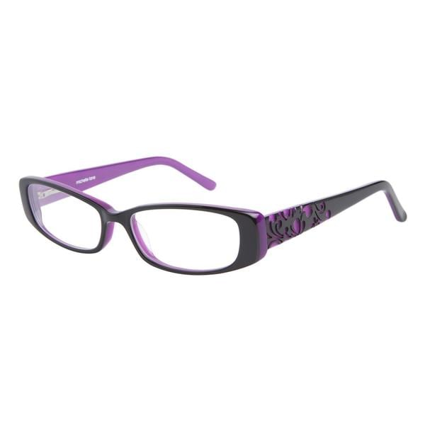 Michelle Lane ML808 Bloom Black Purple Prescription Eyeglasses