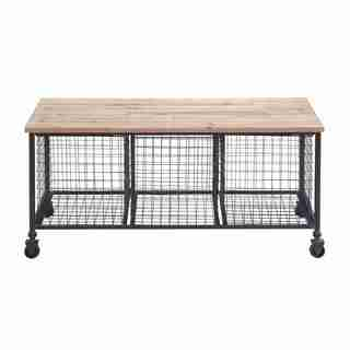 Wire Basket Rolling Bench