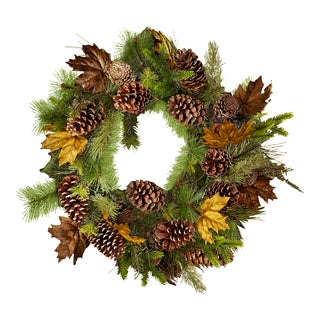 Sage & Co 32-inch Pinecone/ Leaves Pine Wreath