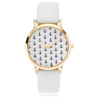 Geneva Platinum Women's Faux Leather Band Patterned Watch
