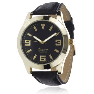 Geneva Platinum Women's Faux Leather Band Watch with Colored Dial