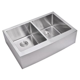 ... 50/50 Double Bowl Stainless Steel Hand Made Apron Front Kitchen Sink