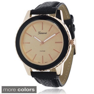 Geneva Platinum Women's Faux Leather Band Watch